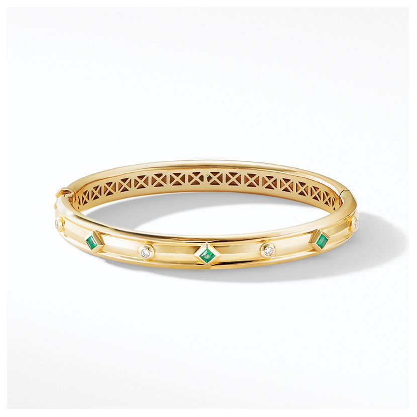 Modern Renaissance Bracelet in 18K Yellow Gold with Emeralds and Diamonds
