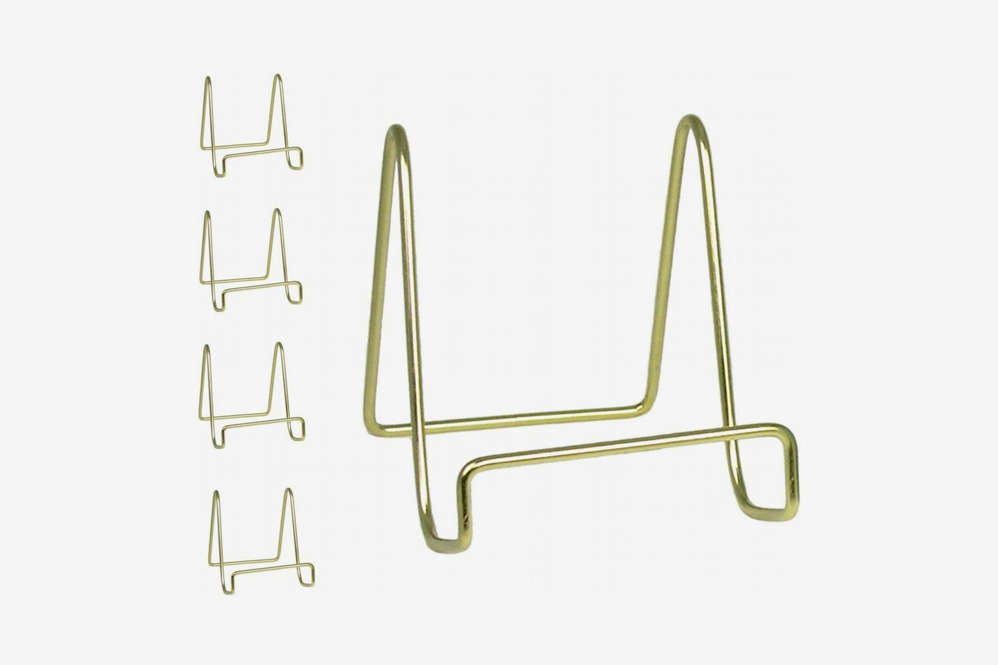 Banberry Designs Wire Easel Display Stand Plate Holders - Smooth Brass Metal - 4 Inch - Set of 5