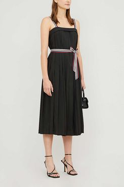 Ted Baker Pleatzi Striped Grosgrain-trim Pleated Crepe Midi Dress