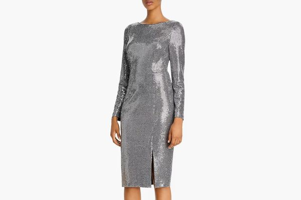 Eliza J Sequin Long-Sleeved Sheath Dress