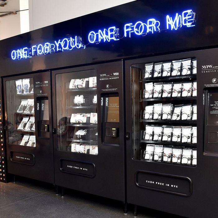 Visa vending machines selling merchandise from Rebecca Minkoff, Venessa Arizaga, and Nelly and Chloe.