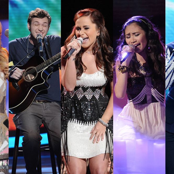 From left, Hollie Cavanagh, Phillip Phillips, Skylar Laine, Jessica Sanchez and Joshua Ledet give their performances in front of the judges on America Idol airing Wednesday, May 2 on FOX.