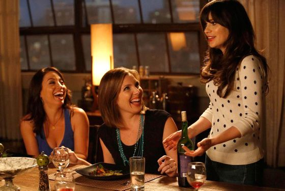 "NEW GIRL:  Jess (Zooey Deschanel, R) gets some good news from her friends, Sadie (guest star June Diane Raphael, C) and Melissa (guest star Kay Cannon, L),  in the ""Eggs"" episod"