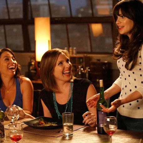 NEW GIRL: Jess (Zooey Deschanel, R) gets some good news from her friends, Sadie (guest star June Diane Raphael, C) and Melissa (guest star Kay Cannon, L), in the