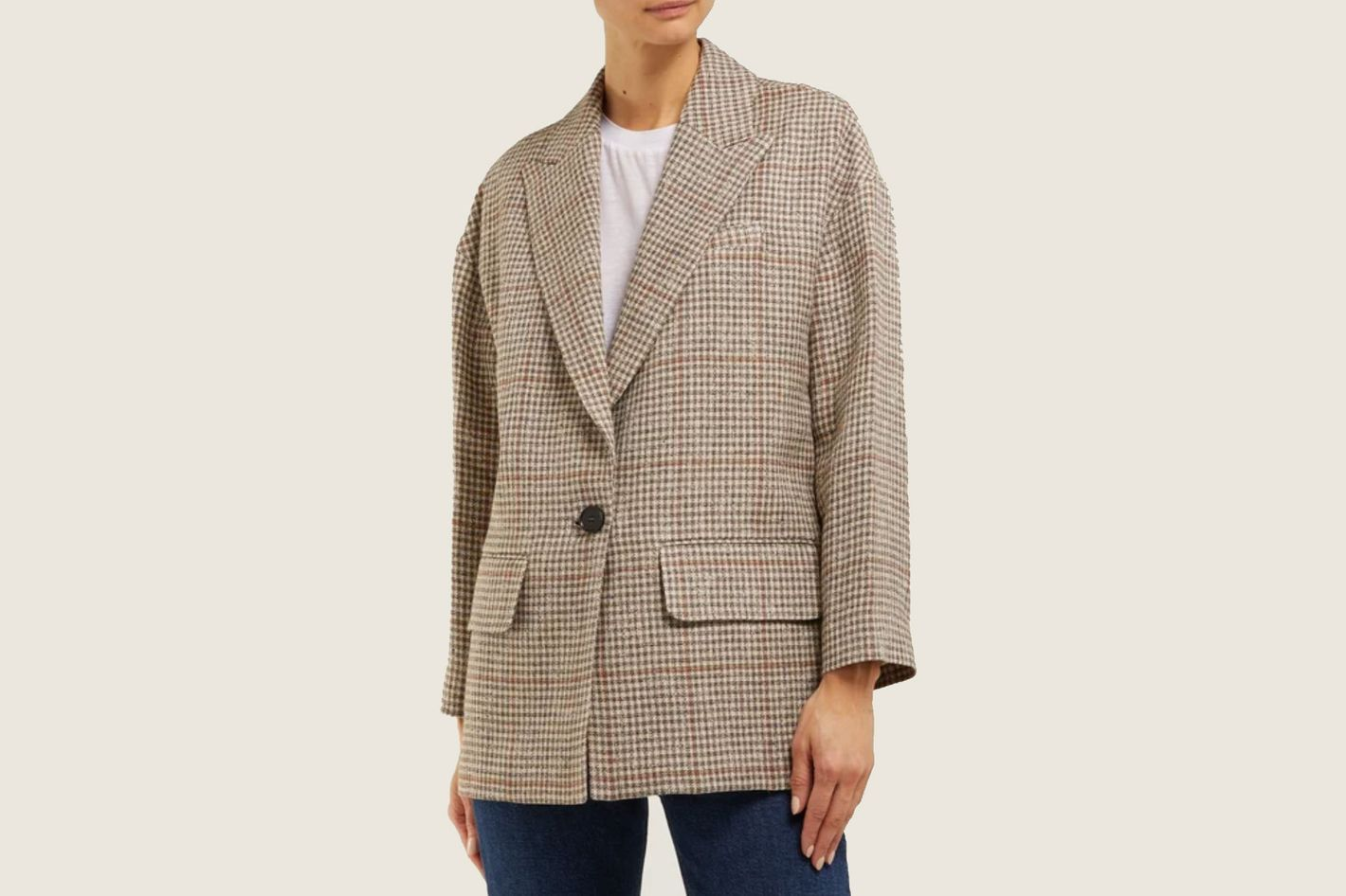 Masscob Norman Houndstooth Linen-Blend Blazer