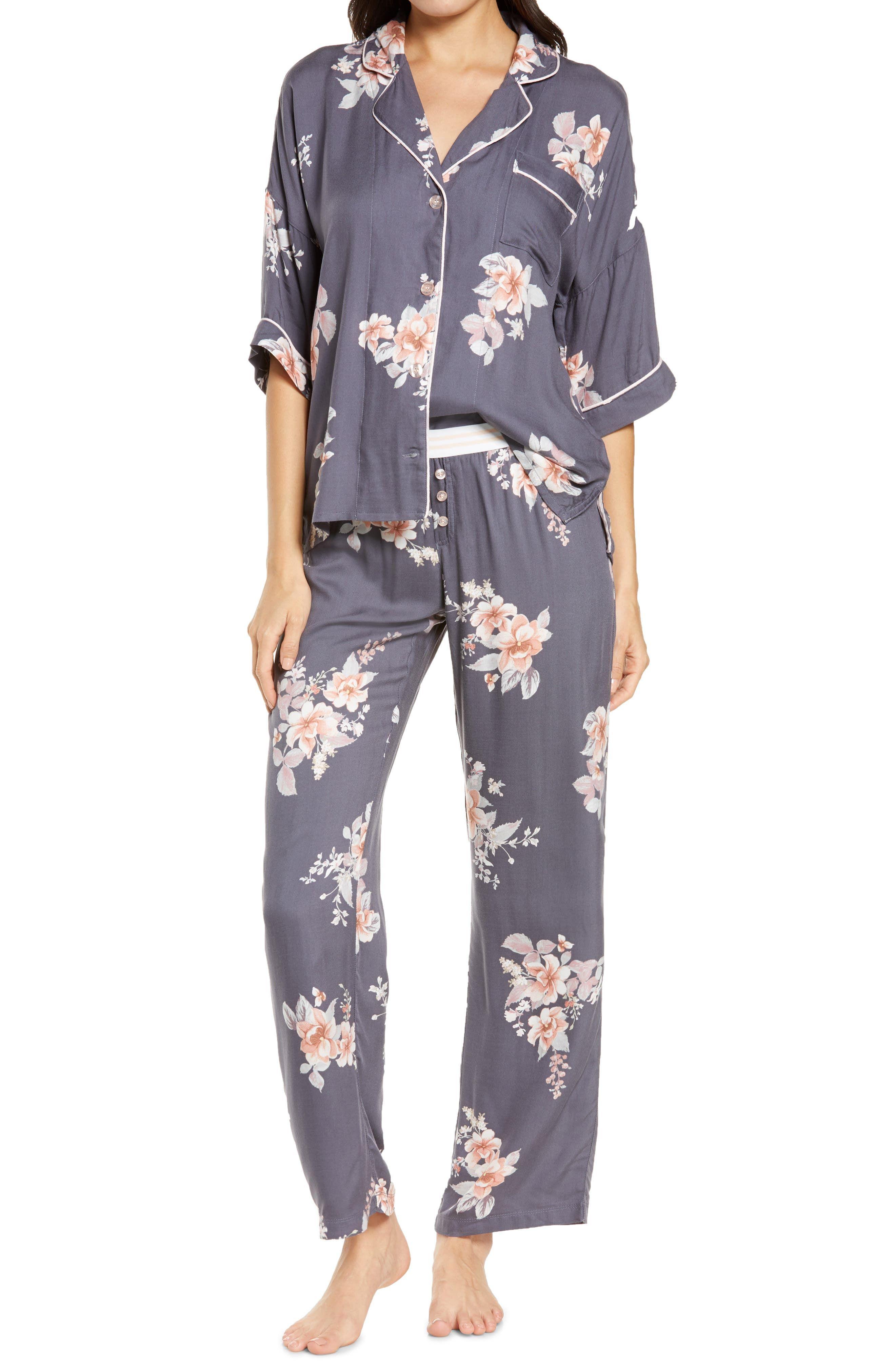 PJ Salvage Cotton Flannel Pajama Shirt//Pants Set Party Time Navy
