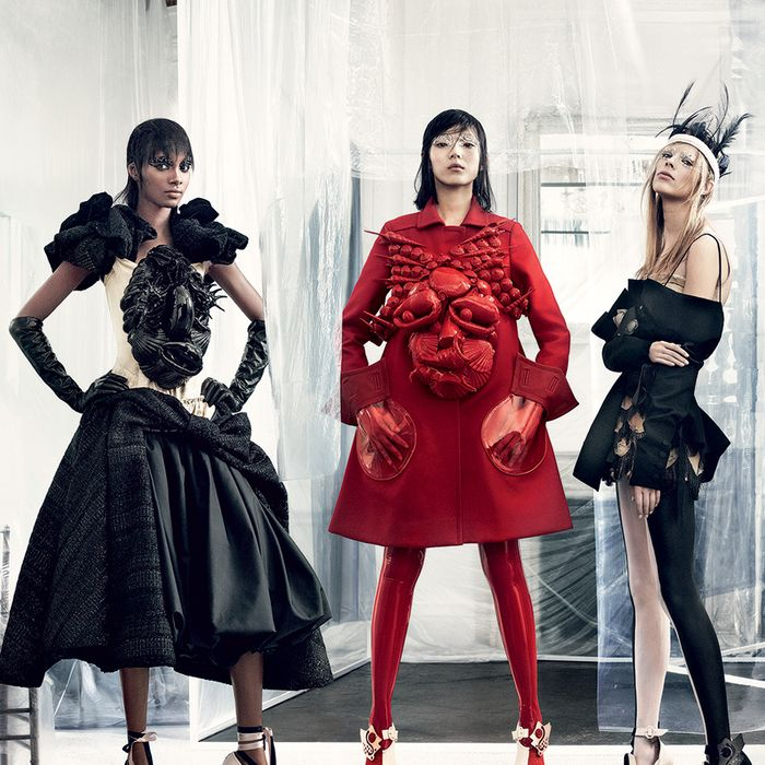 Tami Williams, Xiao Wen Ju, and Lexi Boling wear looks from Maison Margiela Artisanal.