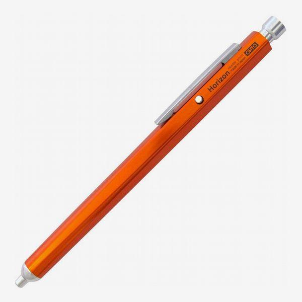 Ohto Horizon Aluminum Hexagon Barrel Needlepoint Ballpoint Pen (0.7mm), Orange