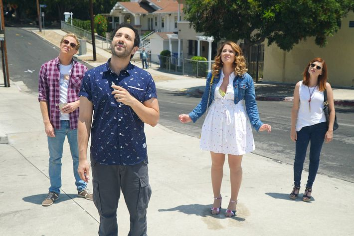 "YOU'RE THE WORST -- ""The Last Sunday Funday"" -- Episode 306 (Airs Wednesday, October 5, 10:00 pm e/p -- Pictured: (l-r) Chris Geere as Jimmy Shive-Overly, Desmin Borges as Edgar Quintero, Kether Donohue as Lindsay Jillian, Aya Cash as Gretchen Cutler. CR: Byron Cohen/FX"