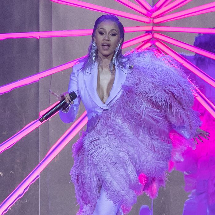 Cardi B at performing at ETAM's Paris fashion show.