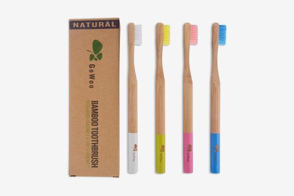 GoWoo Natural Bamboo Toothbrush, Set of 4