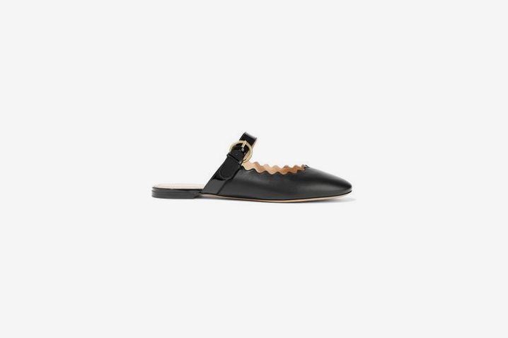 Chloe Lauren Patent-Trimmed Leather Slippers