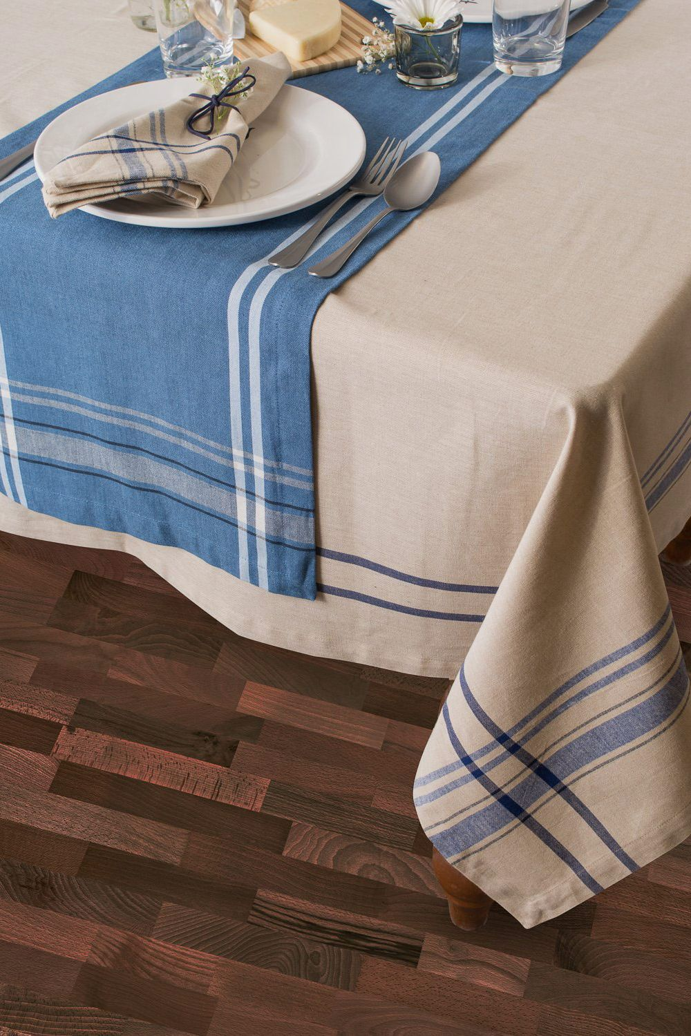 DII French Stripe Kitchen Tablecloth