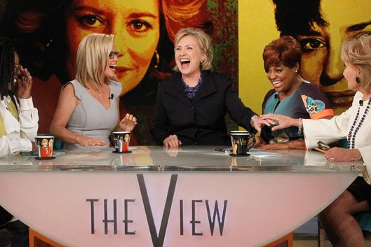 "THE VIEW - Barbara Walters says farewell to live daily television with her final co-host appearance on The View, the daytime program she created for ABC airing Friday, May 16, 2014.  ""The View"" airs Monday-Friday (11:00 a.m.- 12 noon, ET) on the ABC Television Network.  (Photo by Lou Rocco/ABC via Getty Images)"