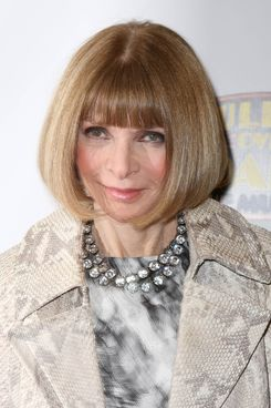 "Anna Wintour attends the ""Bullets Over Broadway"" opening night celebration at St. James Theatre on April 10, 2014 in New York City."