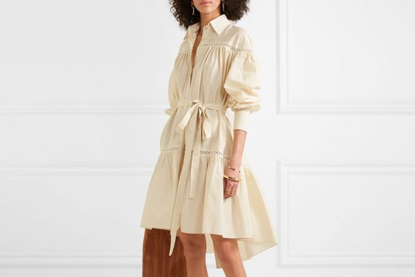 Arjé Ami Embroidered Tulle Trimmed Striped Poplin Dress