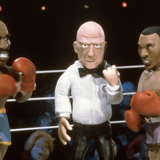 CELEBRITY DEATHMATCH (aka MTV'S CELEBRITY DEATHMATCH), from left: Evander Holyfield, Mills Lane, Mike Tyson, 'Evander Holyfield vs. Mike Tyson', (Season 2, 1999), 1998-2002, 2006-07. ? MTV / Courtesy: Everett Collection