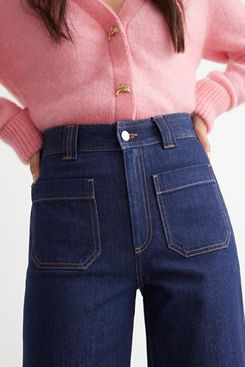 Flared Patch Pocket Jeans
