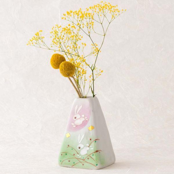 Kutani Ware Rabbit Flower Vase