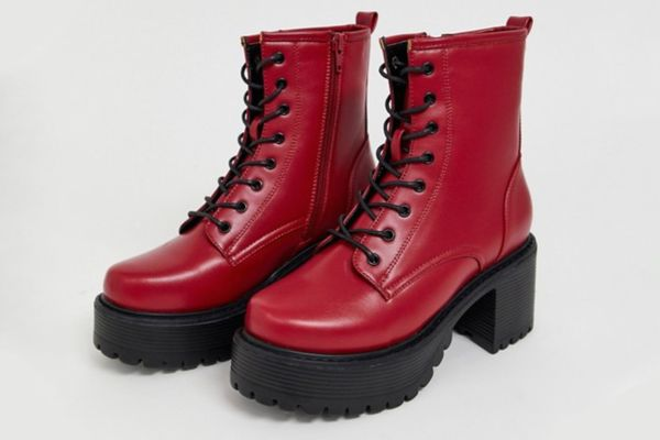 Koi Vegan Lace Up Ankle Boots in Red