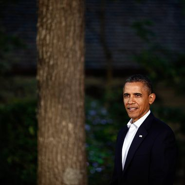 CAMP DAVID, MD - MAY 18:  U.S. President Barack Obama waits to greet G8 leaders in front of Laurel Lodge at Camp David during the 2012 G8 Summit on Friday, May 18, 2012 in Camp David, Maryland. Leaders of eight of the worlds largest economies meet over the weekend in an effort to keep the lingering European debt crisis from spinning out of control.  (Photo by Luke Sharrett/ The New York Times-Pool/Getty Images)