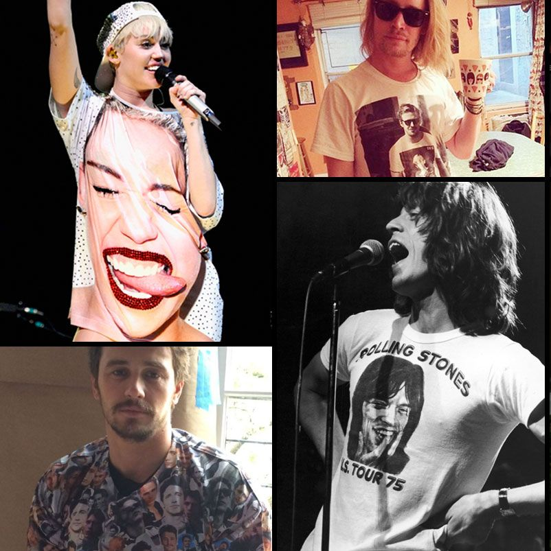 70a4ac77 Celebrities Wearing Their Own Faces on T-Shirts