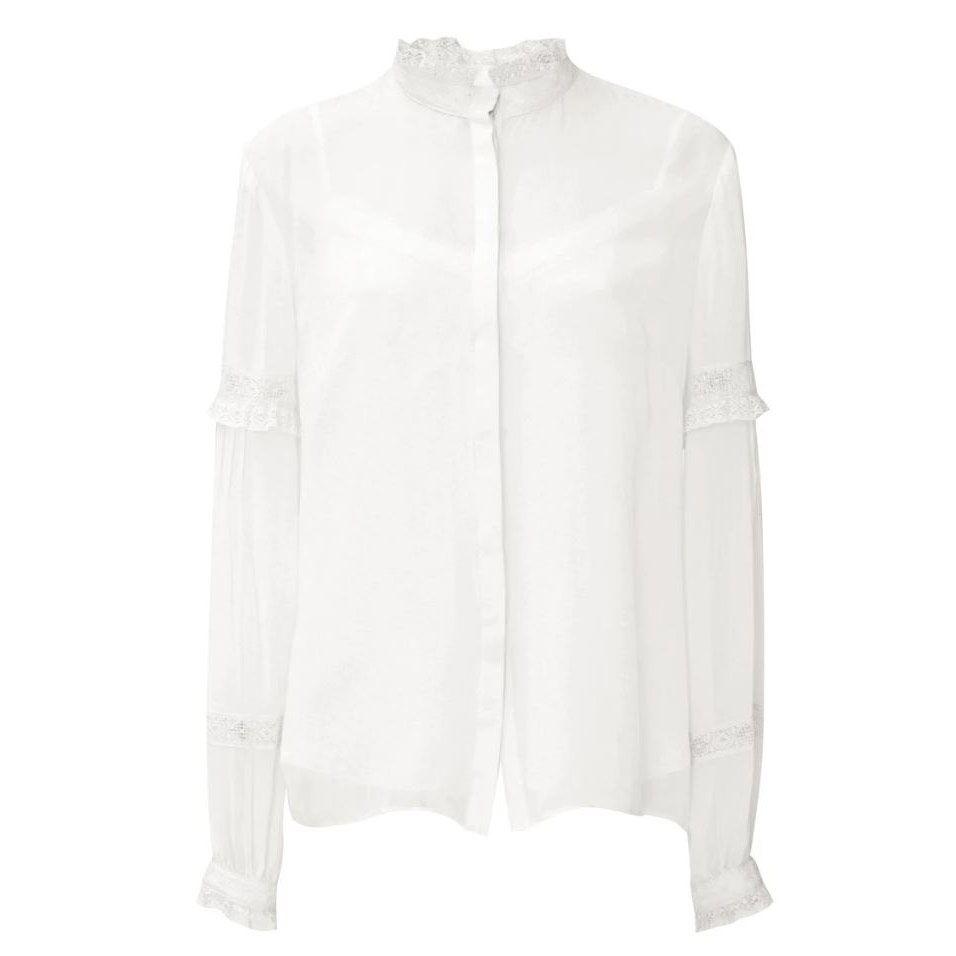 Needle & Thread chalk lace collar shirt
