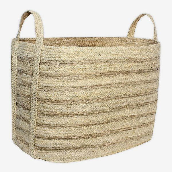 Taylor Madison Designs Rectangular Natural Braided Maize Basket with Seagrass Stripes