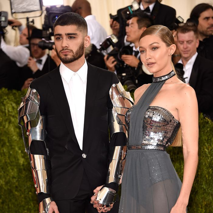 Robot-Zayn Malik and Gigi Hadid. Photo: Kevin Mazur/WireImage