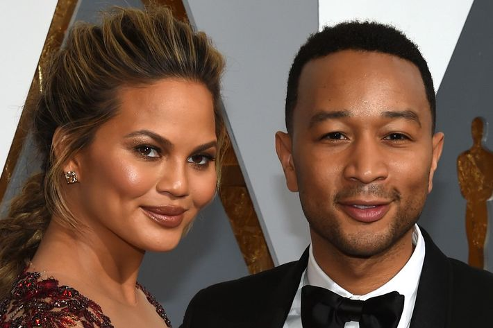 New parents Chrissy Teigen and John Legend.