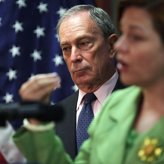 New York City Mayor Michael Bloomberg listens as City Council Speaker Christine Quinn speaks to the media at the opening of the Workforce1 Veterans Career center on July 31, 2012 in New York City.  The center will offer area veterans assistance in their job search, help with resumes and classes on how to perfect the interview process. According to the Bureau of Labor Statistics, the unemployment rate for all veterans in June was 7.4 percent.
