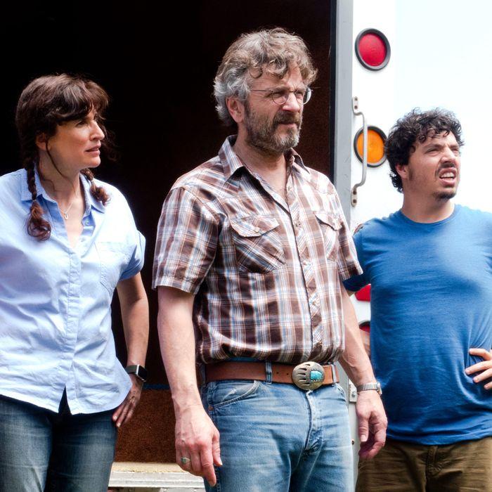 Jillian Bell, Michaela Watkins, Marc Maron and Jon Bass in a scene from Sword of Trust.