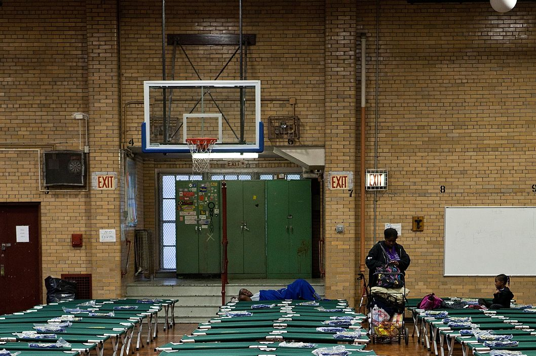NEW YORK, NY - OCTOBER 28:  Cots are seen at Seward Park High School, which is doubling as an evacuation center, in preparation for Hurricane Sandy on October 28, 2012 in New York City. Sandy, which has already claimed over 50 lives in the Caribbean, is predicted to bring heavy winds and floodwaters as the mid-atlantic region prepares for the damage.  (Photo by Andrew Burton/Getty Images)