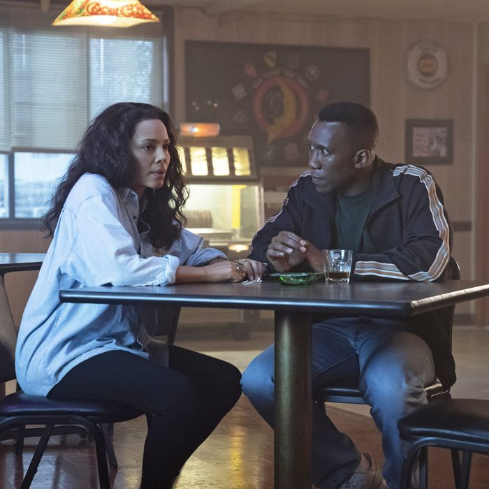 Carmen Ejogo and Mahershala Ali in True Detective.