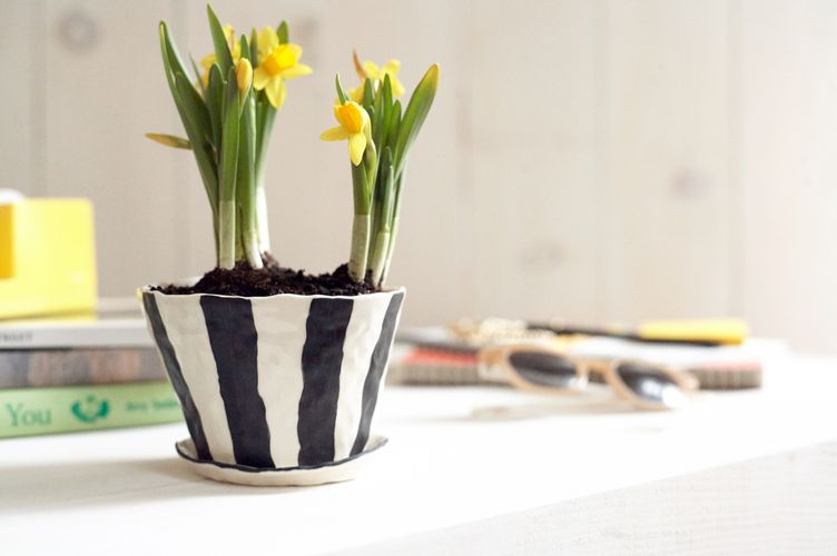 Isabel Halley Ceramics Black-and-White-Striped Planter