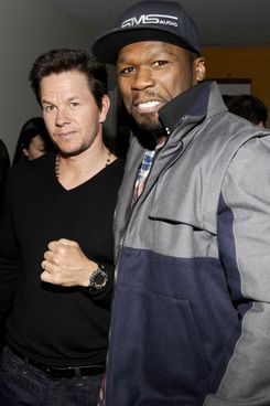 """Mark Wahlberg, Curtis """"50 Cent"""" Jackson==The Cinema Society and Men's Fitness host a screening of """"Pain and Gain""""==Crosby Street Hotel, NYC==April 15, 2013."""