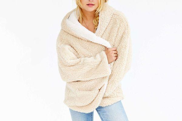 Choies Women's Reversible Faux Fur Hooded Cardigan