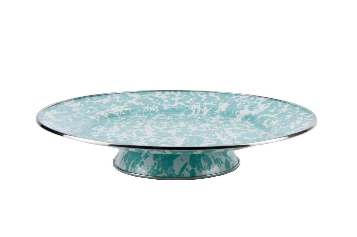 Enamelware — Sea Glass Teal Swirl Pattern, 12.5 Inch Cake Plate