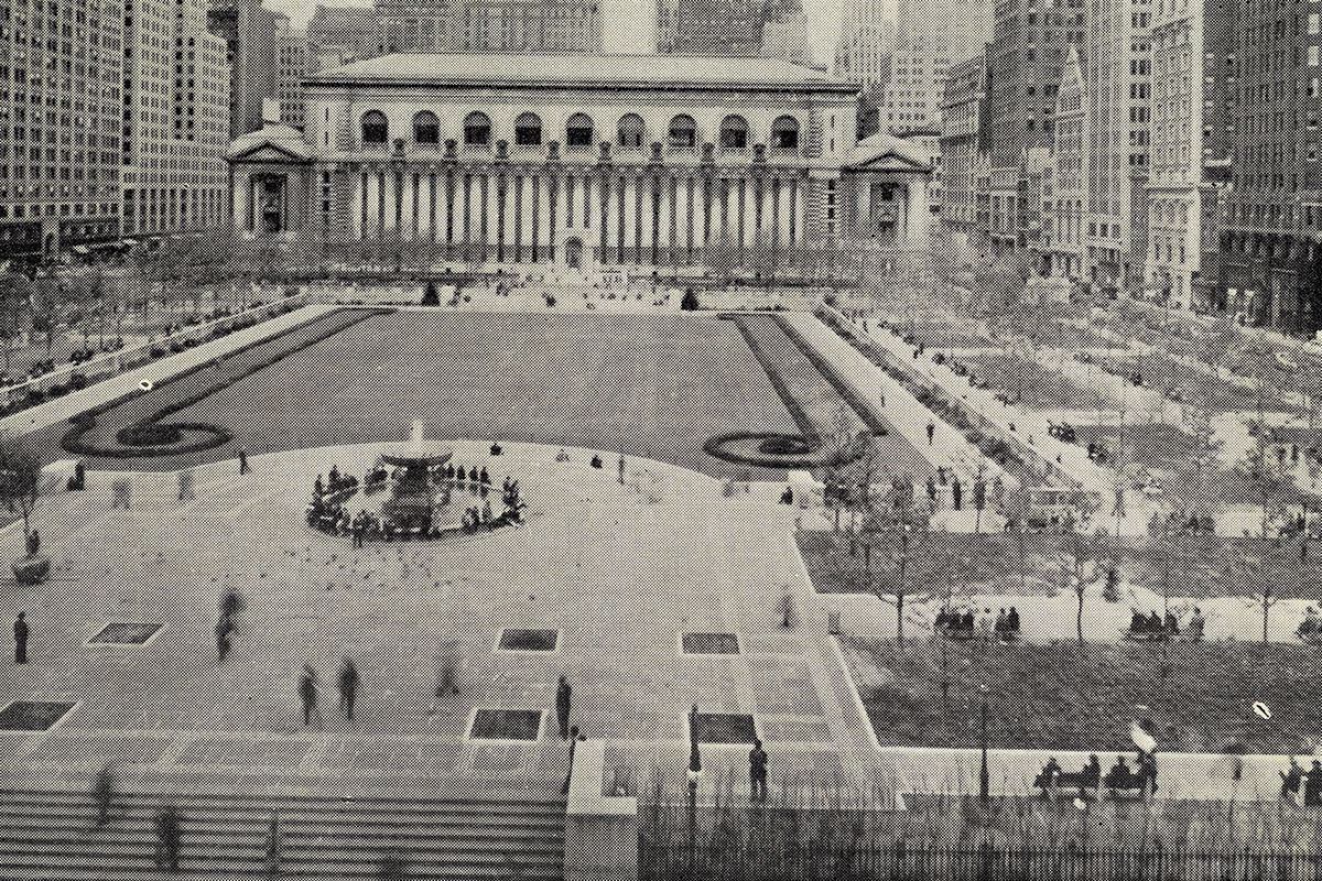 "<span class=""clay-designed kiln-phrase"">ca. 1935</span>Bryant Park, after a reconstruction overseen by then–Parks Commissioner Robert Moses."