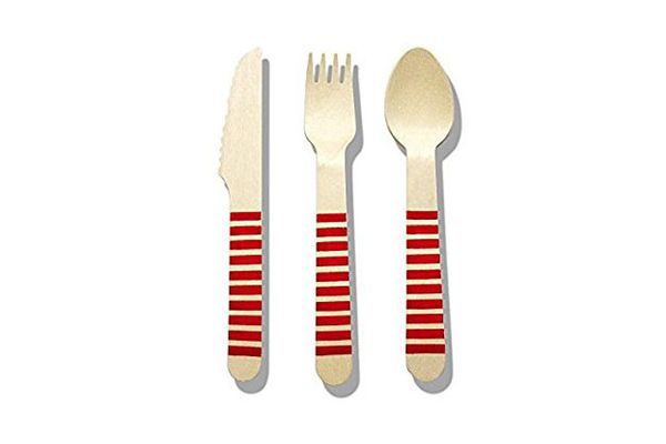 Birthday Party Supplies Disposable Wooden Cutlery