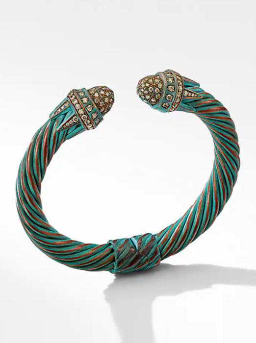 Statue of Liberty Cable Bracelet in Copper with Pavé Cognac Diamonds