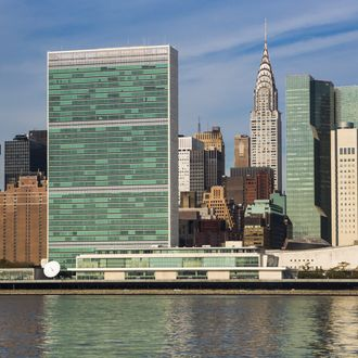 United Nations building And East River