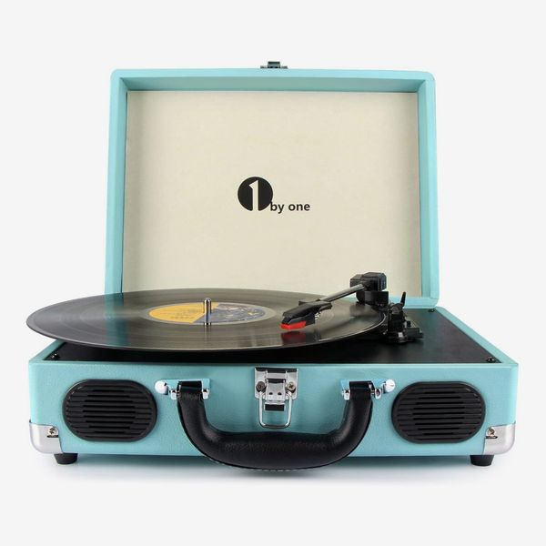 1byone Belt-Drive 3-Speed Portable Vinyl Turntable