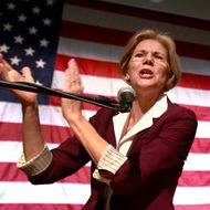 Democratic candidate for the U.S. Senate, Elizabeth Warren addresses an audience during a campaign rally at a high school in Braintree, Mass., Sunday, Nov. 4, 2012. Both Warren and incumbent U.S. Sen. Scott Brown, R-Mass., continue their push around the state in the final days before Election Day. Warren was introduced by U.S. Sen. John Kerry, D-Mass., at the rally. (AP Photo/Steven Senne)
