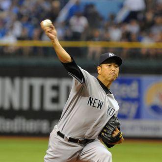 Pitcher Hiroki Kuroda #18 of the New York Yankees