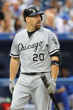 TORONTO, CANADA - AUGUST 16: Kevin Youkilis #20 of the Chicago White Sox reacts to a strike out against the Toronto Blue Jays during MLB action at the Rogers Centre August 16, 2012 in Toronto, Ontario, Canada. (Photo by Abelimages/Getty Images)