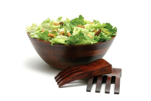 Lipper Cherry 13 in. Serving Bowl with Salad Hands