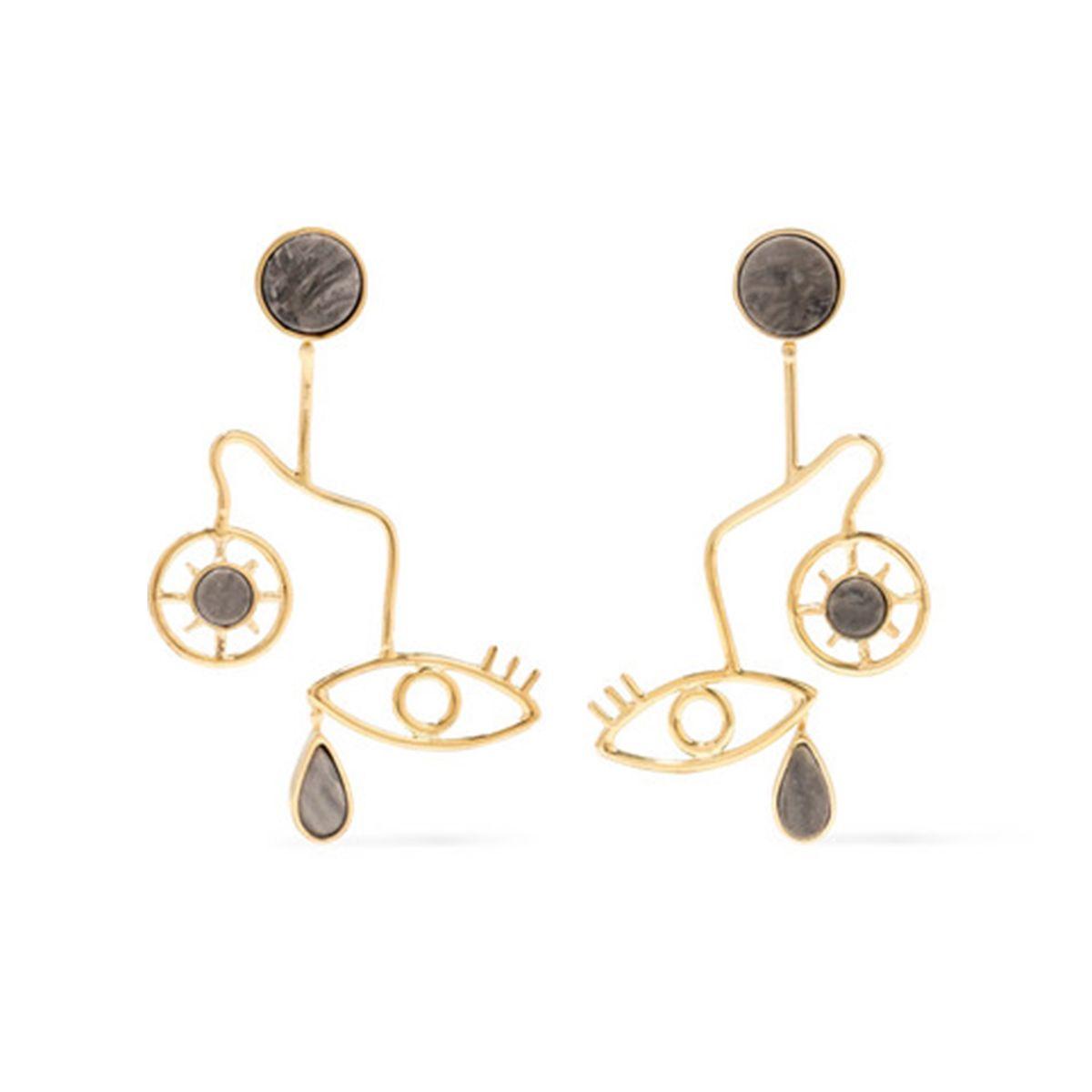 Mobile gold-plated granite earrings