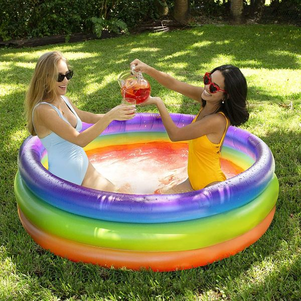 PoolCandy Inflatable Party Sunning Pool, Rainbow
