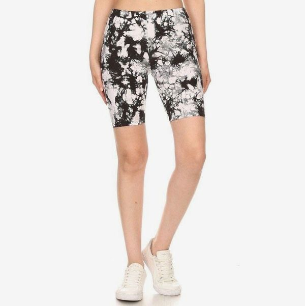 Fiore Boutique Black & White Tie Dye Biker Shorts